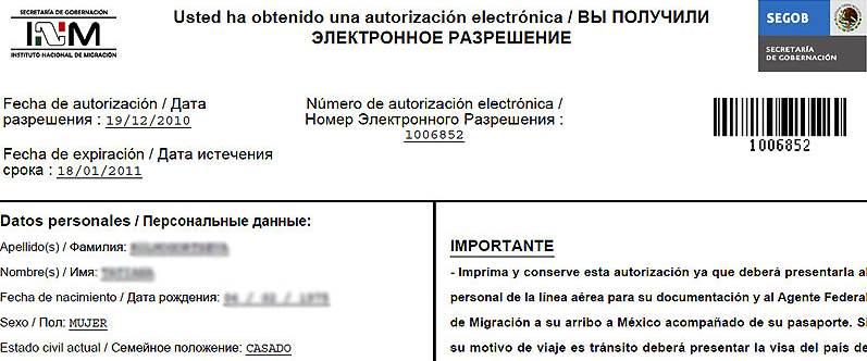 Электронное разрешение на въезд в Мексику