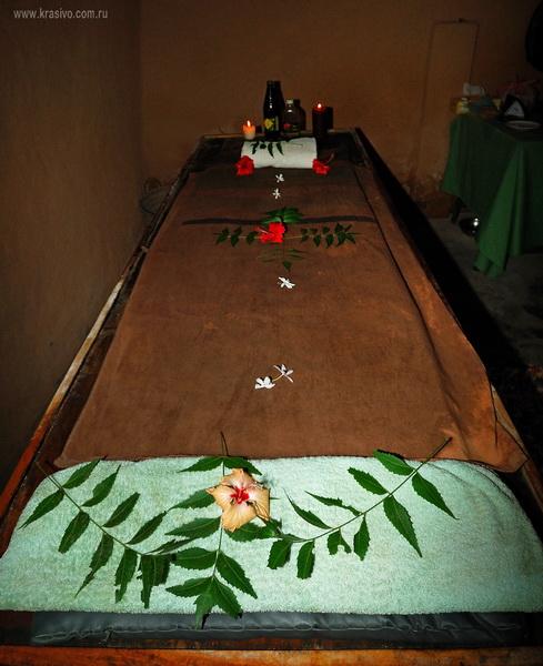 Массажный стол, украшенный живыми цветами и растениями