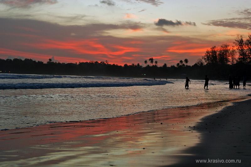 Красивый закат Шри-Ланка Мирисса Бич